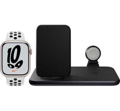 Apple Watch Nike Series 7 45mm Witgoud Wit Bandje + ZENS 3-in-1 Draadloze Oplader Zwart