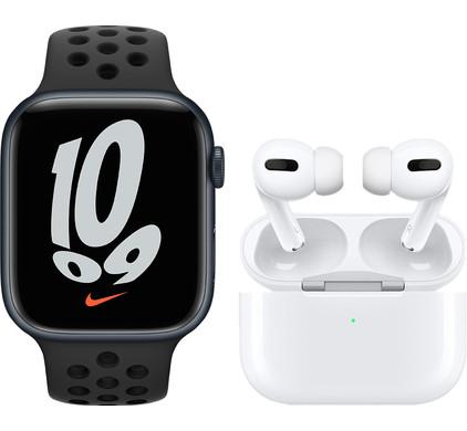 Apple Watch Nike Series 7 45mm Nachtblauw Aluminium Zwarte Sportband + Apple AirPods Pro