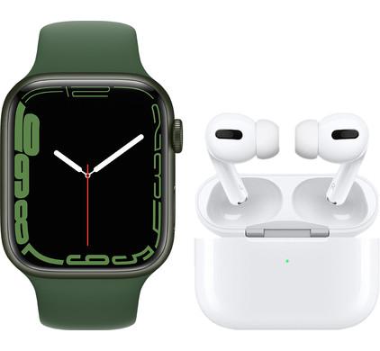 Apple Watch Series 7 45mm Groen Aluminium Groene Sportband + Apple AirPods Pro