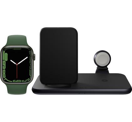 Apple Watch Series 7 45mm Groen Groen Bandje + ZENS 3-in-1 Draadloze Oplader Zwart