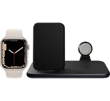 Apple Watch Series 7 45mm Witgoud Crème Bandje + ZENS 3-in-1 Draadloze Oplader Zwart