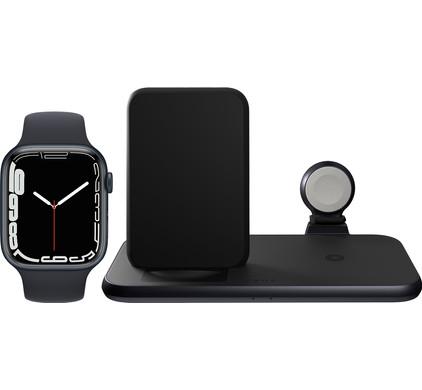 Apple Watch Series 7 45mm Nachtblauw Blauw Bandje + ZENS 3-in-1 Draadloze Oplader Zwart