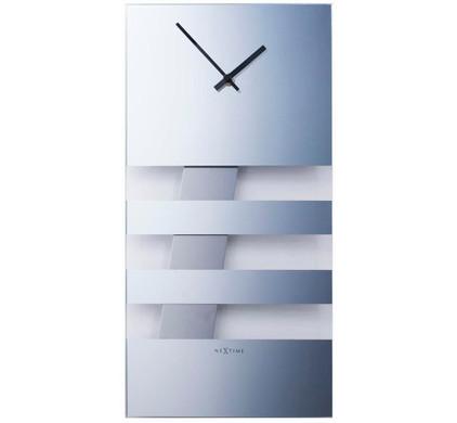 NeXtime Wandklok Bold Stripes Mirror Spiegelglas