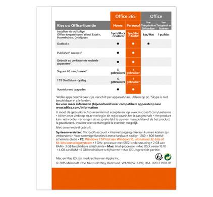 Microsoft Office 365 Personal 1 jaar abonnement NL