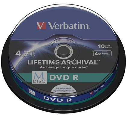 VERBATIM M-DISC DVD+R 4x 4.7GB IJ PRINTABLE 10 PACK SP