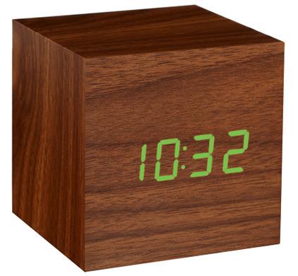 Gingko Cube Click Clock Walnoot/Groen