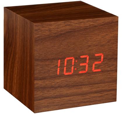 Gingko Cube Click Clock Walnoot/Rood