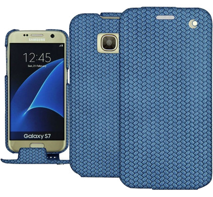 Noreve Tradition Woven Leather Case Samsung Galaxy S7 Blauw