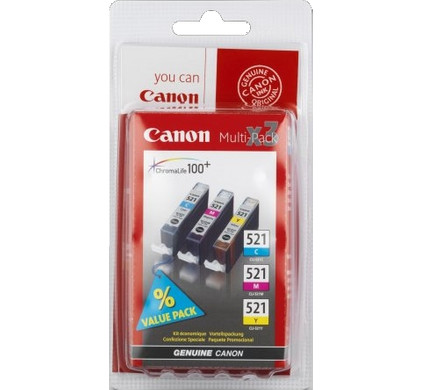 Canon CLI-521 CMY Color Value Pack (2934B010) Packaging