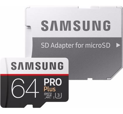 Samsung microSDXC PRO+ 64 GB 100MB/S CL 10 + SD adapter