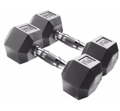 Body Sculpture Hexa Rubber Dumbbells 2x 9 kg