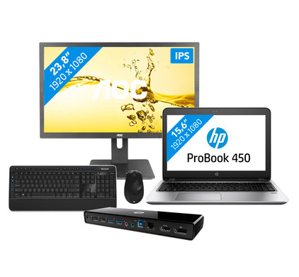 Workstation pakket - HP ProBook 450 G4 i3-8gb-128ssd