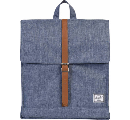 Herschel City Mid-Volume Dark Chambray Crosshatch/Tan Synth