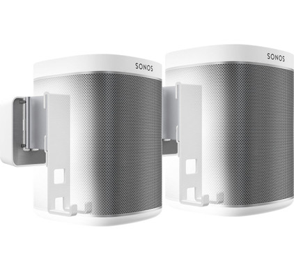 SONOS PLAY:1 Duo Pack Wit + Muurbeugels