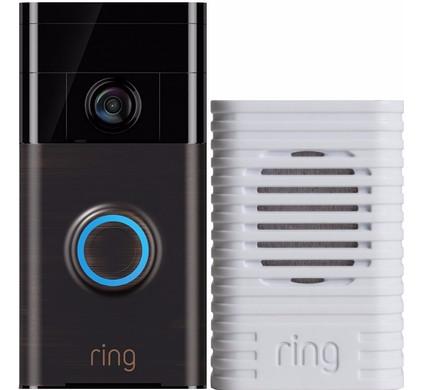 Ring Video Deurbel Zwart + Ring Chime Wit