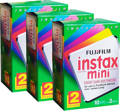 Fuji Instax Mini Colorfilm Glossy 10x2 Pak 3 Pack