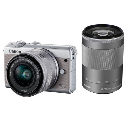 Canon EOS M100 Zilver + 15-45mm IS STM + 55-200mm IS STM