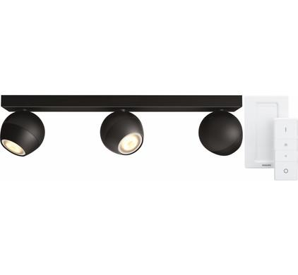 Philips Hue Buckram 3-Spot Zwart met Dimmer