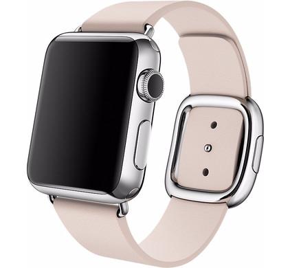 Apple Watch 38mm Modern Leren Horlogeband Roze - M