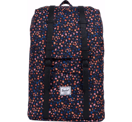 Herschel Retreat Mid-Volume Black Mini Floral/Black Synthetic Leather