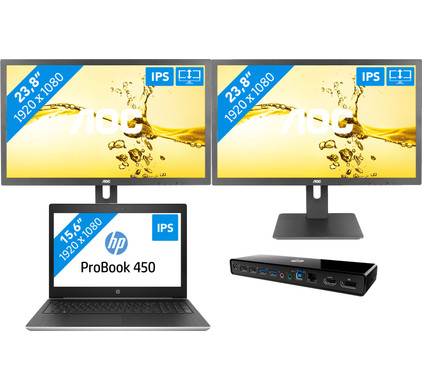 Dockingpakket 2 schermen - HP ProBook 450 G5 i5-8gb-256ssd