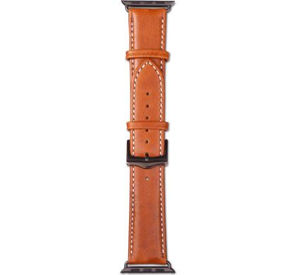 Copenhagen Apple Watch 38mm Leren Horlogeband Lichtbruin/Zwa