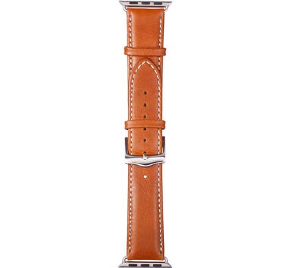Copenhagen Apple Watch 38mm Leren Horlogeband Lichtbruin/Zil