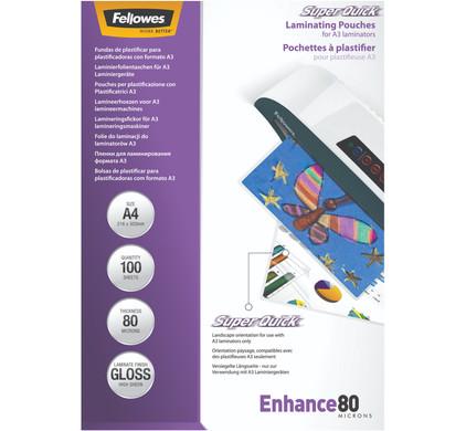 Fellowes Lamineerhoezen SuperQuick 80 mic A4 (100 Stuks)