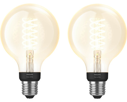 Philips Hue Filamentlamp White Globe E27 Bluetooth Duo Pack