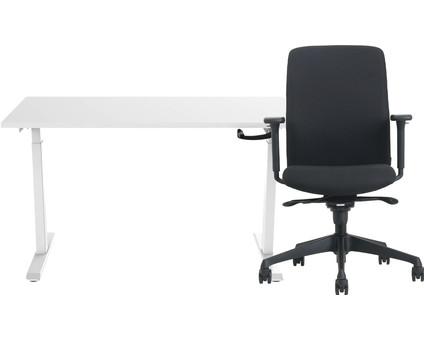 Euroseats Hand Crank Sit-Stand Desk 120x80 White/White + Vigo Desk Chair