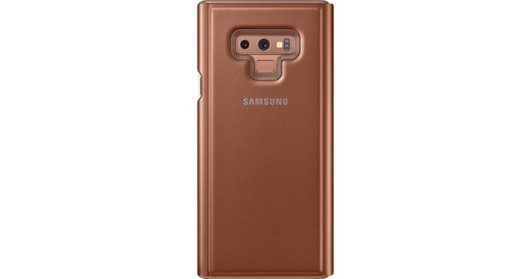 Samsung Galaxy Note 9 Clear View Stand Book Case Bruin
