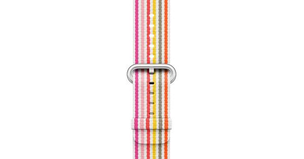 Apple Watch 42mm Nylon Woven Gestreept Roze