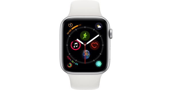 Apple Watch Series 4 44mm Zilver Aluminium/Witte Sportband