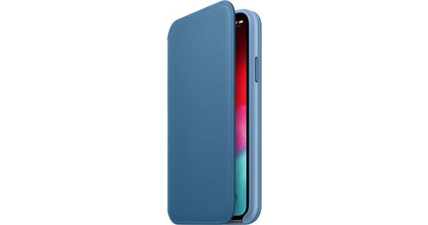 Apple iPhone Xs Leather Folio Book Cape Cod Blue