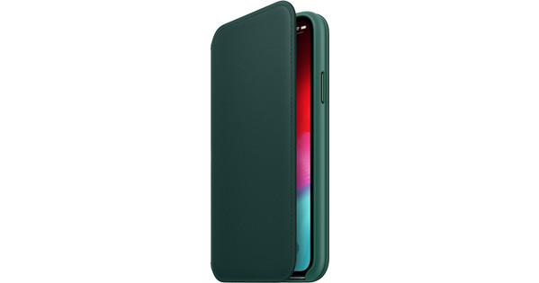 Apple iPhone Xs Leather Folio Book Forest Green