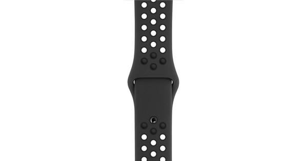 Apple Watch 44mm Siliconen Horlogeband Nike Sport Antraciet/Zwart