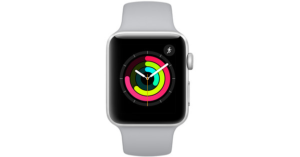 Apple Watch Series 3 38mm Zilver Aluminium/Grijze Sportband