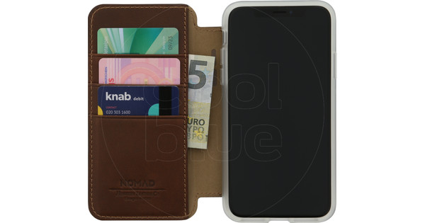 Nomad Clear Folio Apple iPhone X Book Case Brown