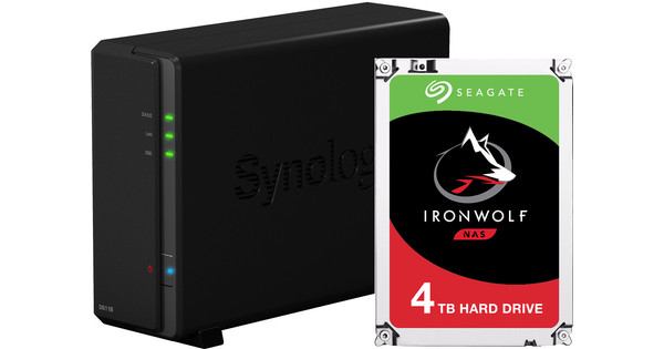 Synology DS118 with 1x Seagate IronWolf 4 TB hard drive