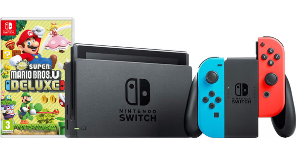Nintendo Switch Rood/Blauw New Super Mario Bros. U Bundel