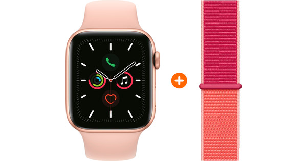 Apple Watch Series 5 44 mm Goud Roze Sportband + Nylon Sport Loop Pomegranate