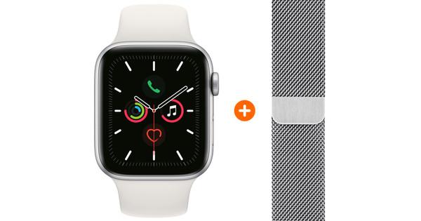 Apple Watch Series 5 44mm Zilver Witte Sportband + Polsband Milanees Zilver