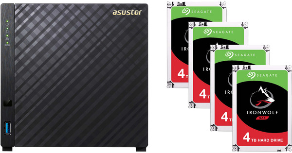 Asustor AS3204T v2 + Seagate Ironwolf ST4000VN008 4 TB Quad Pack