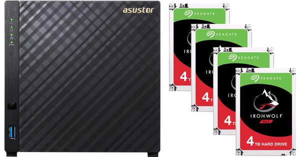 Asustor AS1004T v2 + Seagate Ironwolf ST4000VN008 4 TB Quad Pack