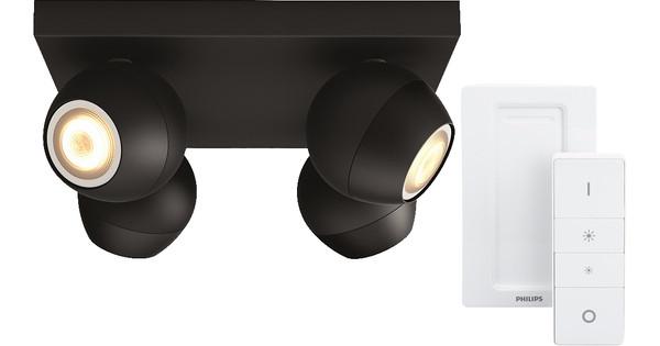 Philips Hue Buckram 4-Spot Black with Dimmer