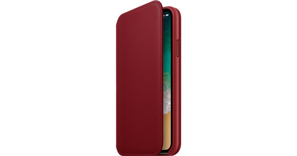 Apple iPhone X Leather Folio Book Case RED