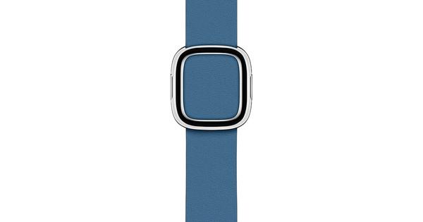 Apple Watch 38/40 mm Modern Leren Horlogeband Cape Cod Blauw - Medium