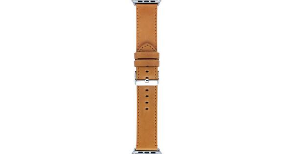 DBramante1928 Copenhagen Apple Watch 42mm Leren Horlogeband Lichtbruin/Zilver