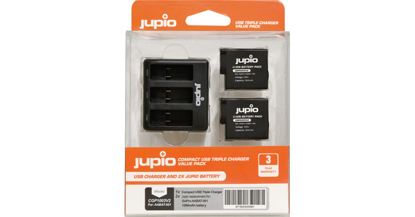 Jupio Kit: Battery GoPro HERO5/6/7 & HERO (2018) accu (2x) + USB Triple Charger