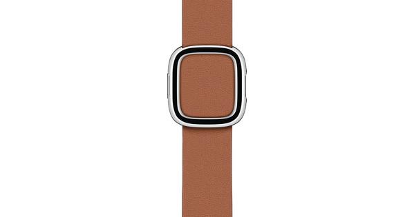 Apple Watch 38/40 mm Modern Leren Horlogeband Zadelbruin - Small